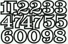 PLANCHE A4 TUNING QUAD 17 AUTOCOLLANT CHIFFRE BLANC ET NOIR 5,5 X 4 CMS
