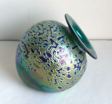 Rick Hunter Iridescent SIGNED Glass VASE Green Blue Gold