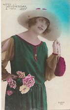 CJ51.Vintage French Greetings Postcard. Lady with a purple purse and roses.