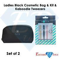Kit & Kaboodle Tweezers (4 Pack) & Ladies Black Cosmetic Bag (Set of 2 Bundle)