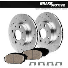 Front Drill Slot Brake Rotors And Ceramic Pads For Scion IQ Toyota Prius Yaris