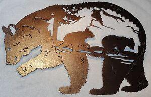 Bear with Bear Scene Metal Wall Art Home Decor