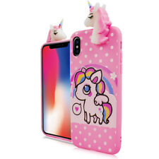 For iPhone X - Cute 4D Unicorn Rainbow Dots Soft Rubber Silicone Skin Case Cover