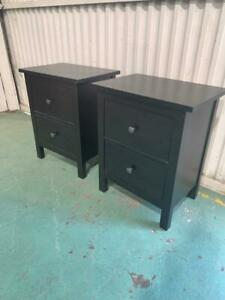 H42010 Pair of Black Bedside Tables Cupboards