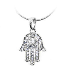 """Silver Color Hamsa Hand of Fatima Pendant with White Crystals and 16"""" Chain"""