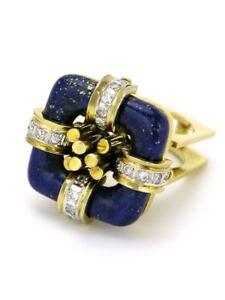 Vintage 14k gold diamond and lapis dress cocktail ring 1960s USA