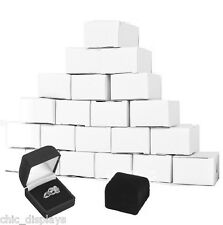 LOT OF 12 <HOT DEAL> FLOCKED VELOUR RING GIFT BOXES BLACK RING BOX JEWELRY BOXES
