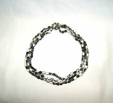 Vintage 50's 3 Strand Black & White Bead Necklace Costume Jewelry