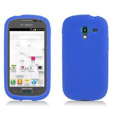 For Samsung Galaxy Exhibit T599 Rubber SILICONE Skin Case Phone Cover Dark Blue