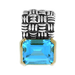 5.00 ctw Blue Topaz Pendant .925 Sterling Silver Two-Tone