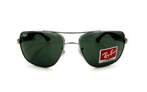 Ray-Ban RB3483 004/71 Navigator Sunglasses Gunmetal Black Green Lens 60mm