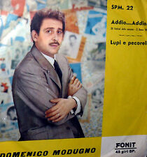 """XII° FESTIVAL DA SANREMO MODUGNO ADDIO..ADDIO...  7"""" LUPI E PECORELLE 1962"""