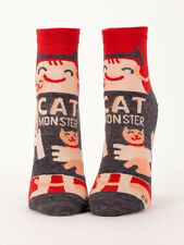 Women's Ankle Socks, Cat Monster,  Blue Q, Cotton, One Size, Funny, Novelty, Gif
