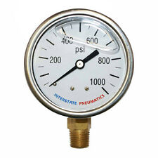 Oil Filled Pressure Gauge 1000 PSI 2-1/2' Dial 1/4' NPT Bottom Mount G7022-1000