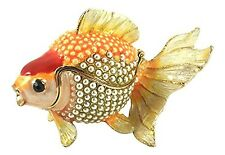Enameled Koi Goldfish Trinket Box by Kubla Craft, Accented with Faux Pearls, 3.5
