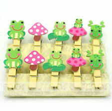10PCS Mixed Frog Cartoon Wood Clip Photo Paper Pegs Clothespin Craft Decor 1 Set