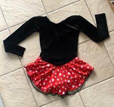 Girls Minnie Mouse Polka Dot Black Velvet Competition Figure Ice Skating Dress