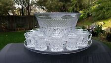 """IMPERIAL CAPE COD CRYSTAL 12"""" PUNCH BOWL#10B 16"""" UNDERPLATE 20V SET WITH 12 CUPS"""