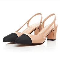 NEW Womens Two-tone Pu Leather Slingbacks Sandals Ladies Block Heels Shoes