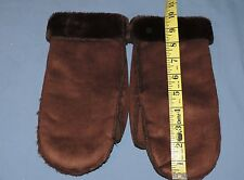 Talbots 1size Brown Washable Poly Suede Shearling Faux Fur Lined Winter Mittens