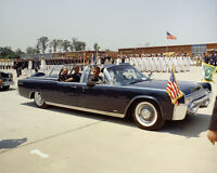 President John F. Kennedy and Ayub Khan in Presidential limousine Photo Print