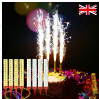 4xBirthday Sparkling Party Cake Topper Fountain Candles silver Wedding Fireworks