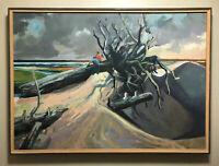 "DANNY PIERCE Framed Coastal Landscape w/Figures & Driftwood Painting 37"" x 27"""