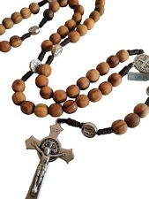 St. Benedict rosary made of OLIVE WOOD St Benedict cross medal Mens rosary