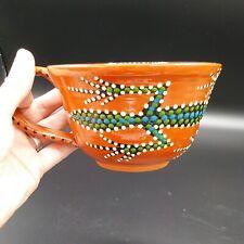 Handmade Red Ware Pottery Mugs Lizard Motif 2 Mugs