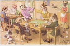 Signed Alfred Mainzer Cat Postcard,#4983,Cats Playing Cards,Belgium,1950s