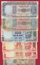 INDIA 100 20 10 RUPEES LOT OF 6 NOTES
