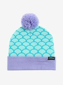 DISNEY THE LITTLE MERMAID ARIEL SCALES POM BEANIE New With Tags