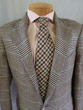 POLO RALPH LAUREN cream brown plaid cotton narrow shoulder blazer jacket 40R