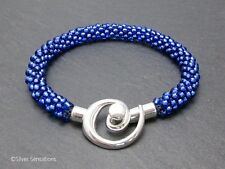 Bright Silvery Sapphire Blue Woven Kumihimo Seed Bead Unisex Fashion Bracelet