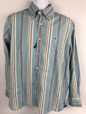 Tommy Hilfiger Mens 80's Two Ply  Button Dress Shirt With LOGO L Blue w/ Stripes
