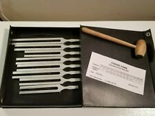 Tuning Fork Set of 8 w/Mallet & Case / Calibration Report