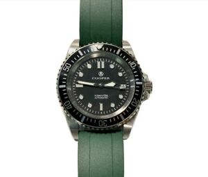 Cooper Submaster Automatic SM8017 200m divers watch on green rubber strap