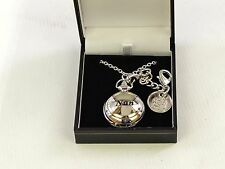 """Nan"" Ladies Pendant & Bag Watch 2 Chains Engraveable Disc - Mother's Day Gift?"