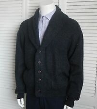 NEW Mens SIZE XXL 2XL ALPACA Dark Gray Ribbed Shawl Collar Sweater Cardigan PERU