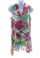 Spense Womens Multi Color Tropical Floral Sleeveless V Neck Top Summer Casual
