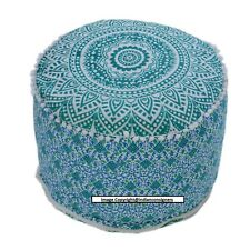 Good Looking Cute Classy Blue Color Mandala Design Ottoman Cover For Living Home
