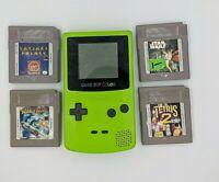 Nintendo Game Boy Color Handheld Gaming System Kiwi Green w/ 4 Games