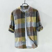 Men Linen Cotton Shirts Patchwork Long Sleeve Mandarin Collar Shirt Summer TS339