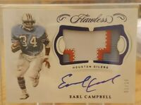 2018 Panini Flawless Football,Earl Campbell Auto, 3 clr patch, 1/10 on card auto