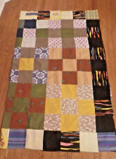 QUILT TOP  UNFINISHED about 40 x 67 Unusual Hand Made Colorful Vintage