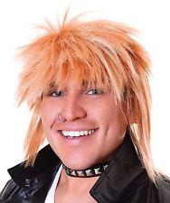 Mens 80s Punk Rock Star Spikey Blonde Rod Stewart Fancy Dress Costume Mullet Wig