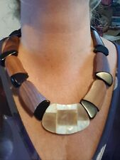 Mother Of Pearl Shell and Wood Necklace