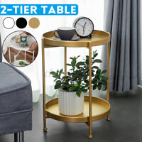 2 Tier Round Metal Wood Coffee Table Sofa Tea Side End Living Room Furniture