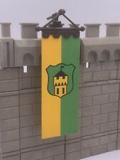 Playmobil Castle Banner Flag & Hanging Pole - Yellow Green 3666 Vintage Knights
