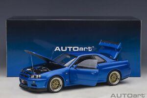 Autoart Nissan Skyline GT-R (R34) V-Spec II with BBS LM wheels Bayside Blue 1/18